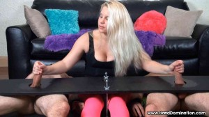 Blonde jerks off & compares loads from two restrained cocks