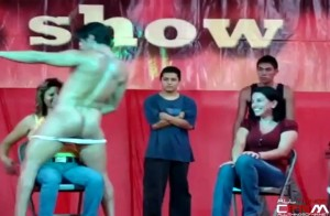 Two women get handfuls of male stripper cock at Expo Guadalajara - 2009
