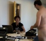 Office woman is shocked & entertained by naked guy1