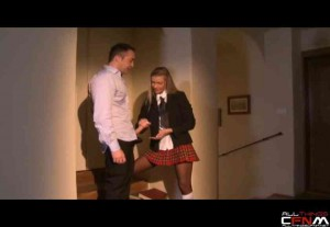 Blonde schoolgirl sucks a big dick while her two friends watch