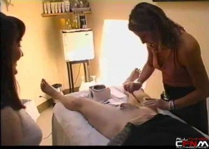 Two women give multiple guys fully nude Brazilian wax jobs
