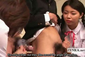 Two Japanese schoolgirls measure & jerk off 2 boys