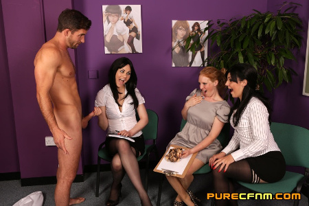 Cock judging CFNM by three hot girls1