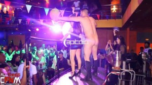 Disco stripper is stripped naked by hot bachelorette onstage