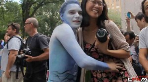 Mixed nudity body paint day in NY square 2014