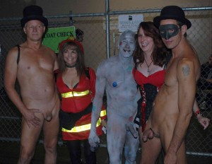 Fantasy Fest CFNM naked guys pose with hot costume girls
