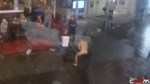 CFNM naked ice bucket challenge in public Liverpool street