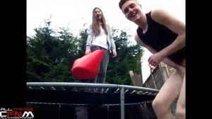 CFNM naked ice bucket challenge on trampoline