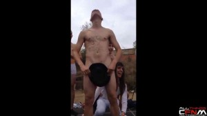 Group CFNM - hot girls dance with naked guys on stage at college initiation party
