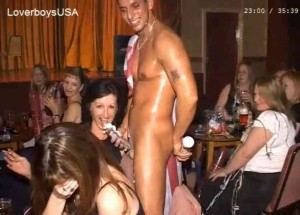 Group of amateur women lick & suck whipped cream off hung male strippers cock