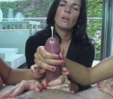 Three sets of hands jerking one cock
