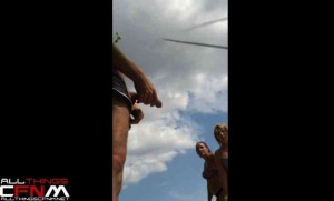 Russian beach exhibitionist jacks off for two women in bikinis