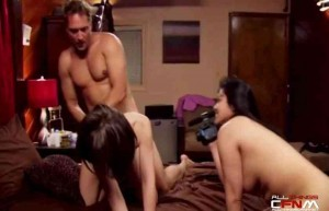 Cathouse 2014 - CFNM threesome filming couple scene2