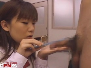 Japanese CFNM film - scene 2 - two sets of schoolgirls inspect boner in wet dream2