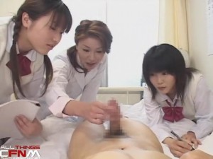 Japanese CFNM film - scene 7 - schoolgirls laugh at streakers & jerk off boy in nurses office11