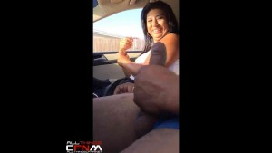 Car ride CFNM jack off show for Latina MILF ends with a hand job1