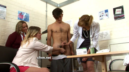 CFNM cock exam by three girls