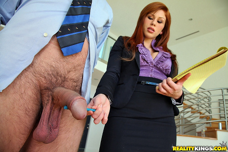 CFNM MILF inspects cock