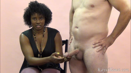 CFNM black girl inspects cock