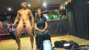 Huge dick male stripper startles MILF